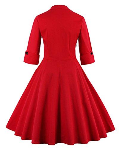 50s Dame Retro Kleider, VERNASSA Abendkleid Elegant Cocktailkleid Vintag 3/4 Arm Knielang Party Rockailly Swing Kleid, Gr.36-46, Mehrfarbig 1323-Rote Punkte