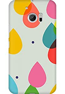 AMEZ designer printed 3d premium high quality back case cover for HTC One M10 (Colorful Water Drops)