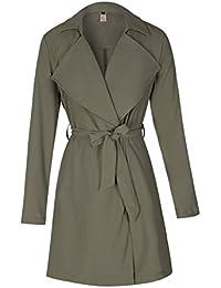 ad8f429a8dd2 ELFIN Veste Longue Femme Manche Longue Chic Parka Coupe Vent Légère avec  Ceinture Manteau Trench Coat