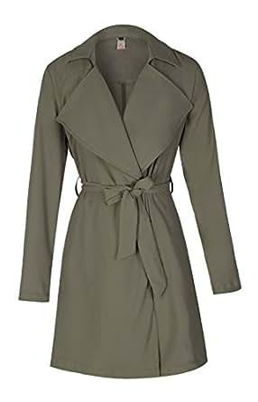 ELFIN® Damen Mantel knielang, Trenchcoat mit Taschen und Taillengürtel, Cardigan Lang und Kurz