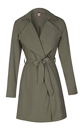 ELFIN® Femme Long Manteau Parka Veste à manche longue avec ceinture grande taille Slim coupe-vent trench coat femme en Automne