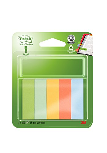 post-it-15mm-x-50mm-recycled-note-page-markers-blue-banana-yellow-mandarin-orange-light-green-grass-