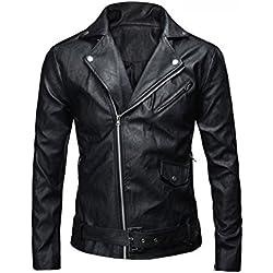 JKQA Men 's Classic policía estilo faux chaqueta de cuero de la motocicleta (XL, Black)