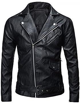 JKQA Men 's Classic policía estilo faux chaqueta de cuero de la motocicleta