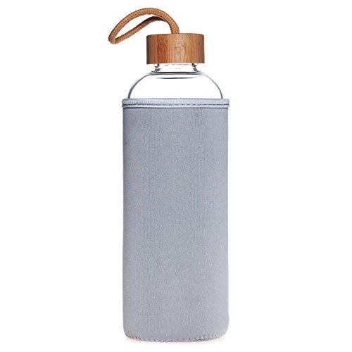 Life4u 1L/550ml Sport Trinkflasche Glas Borosilikatglas Wasser Flasche und Bambus Deckel 1 Litre 1000ml