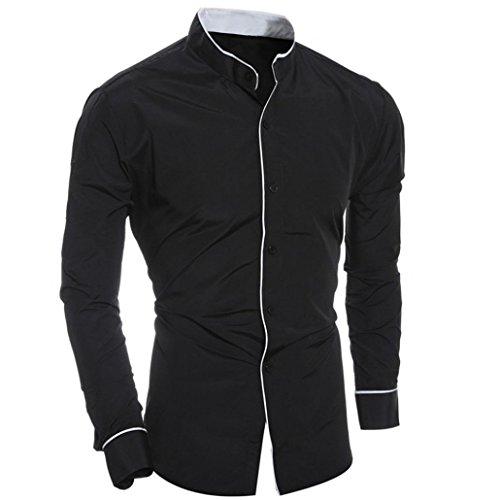 Abbigliamento Uomo, ASHOP Camicia a Maniche Lunghe, Camicetta a Maniche Lunghe Camicia a Maniche Lunghe Casual da Uomo di Personalità della Moda Nero