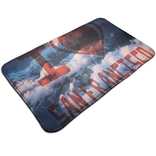 Bgejkos I Love SF in Clouds Indoor/Outdoor Carpet Doormat 50 X 80cm Non Slip Rug Mat