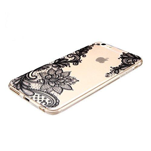 Coque iPhone 6 Plus (5.5 pouce) , TPU Transparente Noir Dentelle Case Slim Souple Étui de Protection Soft Cover Anti Choc Ultra Mince Silicone Couverture Motif Design Bumper Gel Anfire Housse pour iPh Noir Dentelle