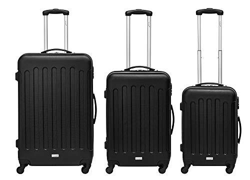Packenger Kofferset - Travelstar - 3-teilig (M, L & XL), Schwarz, 4 Rollen, Koffer mit Zahlenschloss, Hartschalenkoffer (ABS) robuster Trolley Reisekoffer