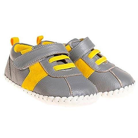 Petit Bleu Agneau Chaussures Marchettes Pour Bébés Chaussures Espadrilles gris jaune - gris jaune, 12-18 Mois