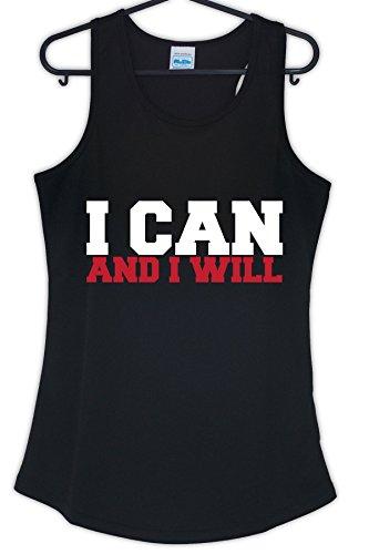 Igtees - T-shirt de sport - Femme Black (White-Red Print)