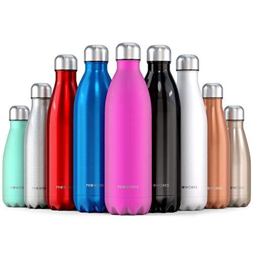Proworks Edelstahl Trinkflasche | 24 Std. Kalt und 12 Std. Heiß - Premium Vakuum Wasserflasche - Perfekte Isolierflasche für Sport, Laufen, Fahrrad, Yoga, Wandern und Camping - 500ml - Rosa (Giant Frauen Rennrad)
