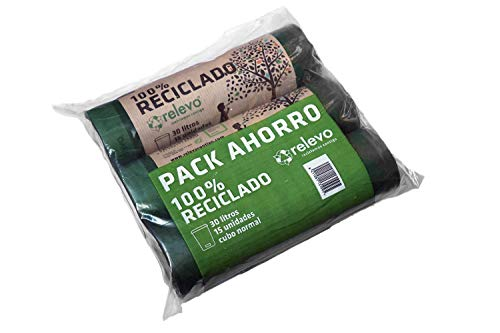 Relevo - Bolsa de basura 100% reciclada de 30 litros, Pack de 3 rollos, 15 unidades/rollo, bolsa de basura para cubo normal