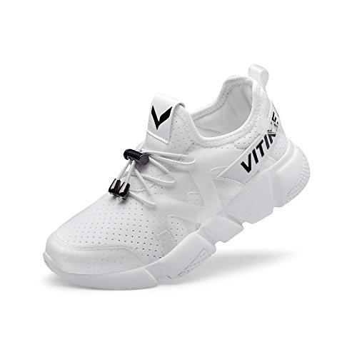 VITIKE Kind Ausbildung Schuhe Mesh Atmungsaktiv Turnschuhe Fitness Leicht Sport Laufen Schuhe(Kleinkind/Kleines Kind/Großes Kind-Weiß-EU37) (Weißen Jungen Baby-schuh)