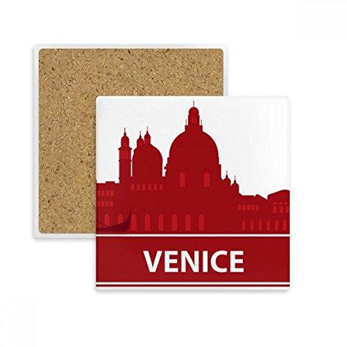DIYthinker Venecia Italia Landmark Modelo Rojo del Cuadrado de la Taza Coaster Titular de Piedra Absorbente para Regalo Bebidas 2pcs