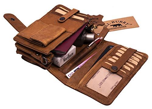 Hill Burry Leder Umhängetasche   Reisebrieftasche - Travel/Wallet aus naturgegerbtem hochwertigem Rindsleder   Organizer - Handgelenktasche/Dokumententasche   Geldbörse Portemonnaie (Braun)