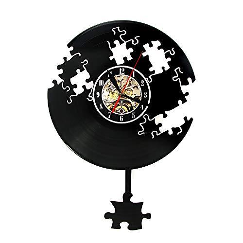 Wanduhren Jigsaw Vinyl Record Fallen Puzzle Vintage Modernes Design Puzzle Pendel Decor Einweihungsparty Geschenk Stille Sport Wohnzimmer Schlafzimmer Büro Hotel Dekoration Kreative Geschenk (Vintage Jigsaw Puzzles)