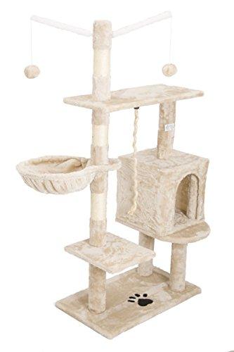 Eglemtek - Rascador para gatos con postes de sisal natural, cucha y juegos, altura de 130 cm, modelo Birba, código 30059