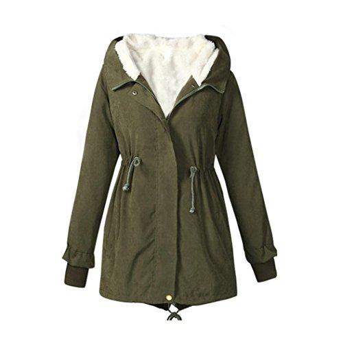 Koly_Donne Parka con cappuccio in pile Top Taglia M-XXXXXL inverno caldo rivestimento del cappotto (M, Army Green)