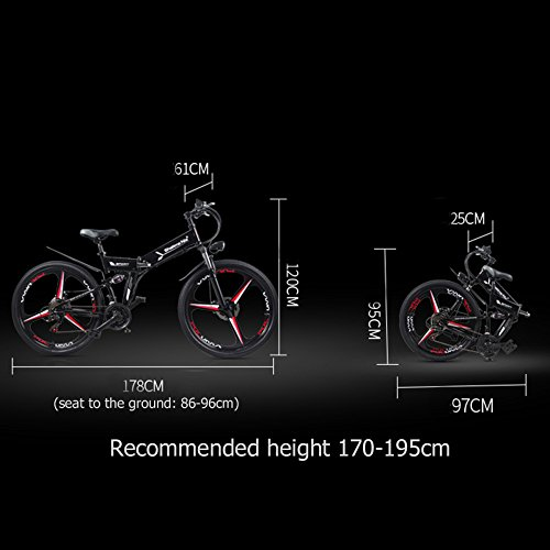 41isJAa4NBL. SS500  - GTYW Electric Folding Bicycle Mountain Bicycle Moped 48V Lithium One Wheel Bicycle 26