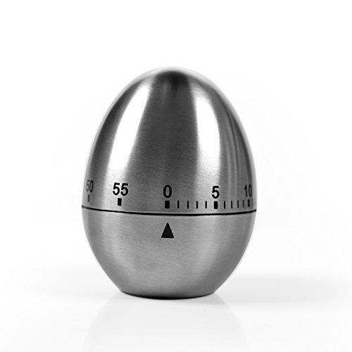 Zeitmesser Küche Maschinerie Eiförmige Stahl Kurzzeitwecker mit Stoppuhr Rostfreier Kurzzeitmesser (Ei-timer 10 Minuten)