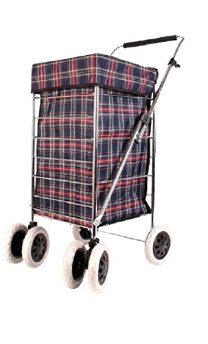 Alexander Graham Exclusive High Quality 6 Wheel Shopping Cart Trolley with Adjustable Handle - Large Shopper With Swivel Wheels at Front Makes it Light and Easy to Use and Great for Mobility - Checked Navy and Red …