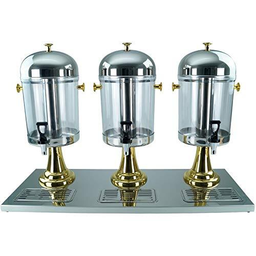Saft-Dispenser Getränkedispenser Saftspender 3 x 8 Liter mit Kühlelement - gold