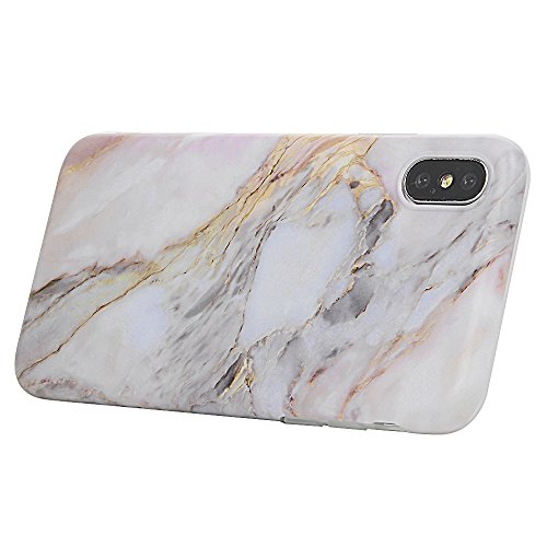 Coque iPhone X Mavis's Diary Étui Housse de Protection TPU Silicone Gel Souple Marbre Bumper Coque Phone Case Cover Swag Protection écran Pour iPhone X Ultra Mince Léger Flexible Fine + Chiffon - Arbr Violet gris