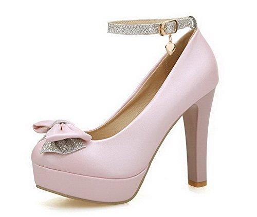 Damen Blend-Materialien Rund Hoher Absatz Zehe Schnalle Rein Pumps Schuhe, Golden, 43 AllhqFashion