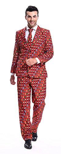 YOU LOOK UGLY TODAY Modisch Herren Party Anzug Weihnachten Kostüme Party Suits Festliche Anzüge mit lustigen Comic Mustern - Rot/M