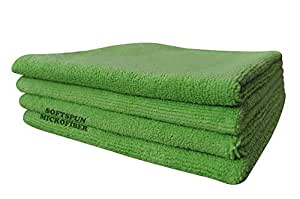 SOFTSPUN Microfiber Cloth - 4 pcs - 40x40 cms - 340 GSM Green - Thick Lint & Streak-Free Multipurpose Cloths - Automotive Microfibre Towels for Car Bike Cleaning Polishing Washing & Detailing