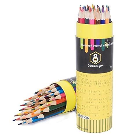 Farbige Bleistift Set 8bees Geschenk wasserlöslich Farbe Bleistift Set mit Schutzhülle für Erwachsene/Kinder Malbücher Zeichnen Schreiben Skizzieren, Set 36sortierte Farben