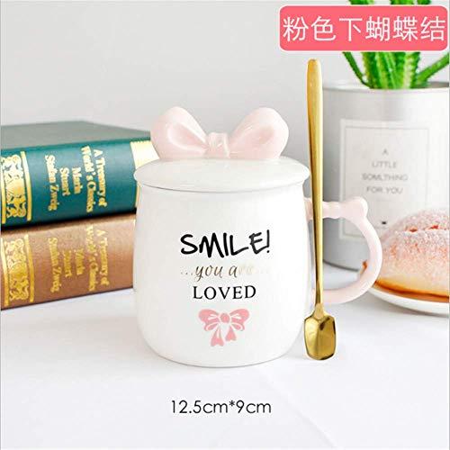 Keramische Schalen-Mädchentrend niedlicher Prinzessin des rosa Bogens mit Deckellöffelschalenbüro-Kaffeetasserosa unter Schmetterling