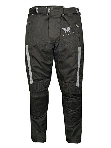 Pantoloni moto motociclista da uomo, protezioni, impermeabile, tessuto cordura pelle, nero XL