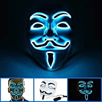 Light up Anonymous Party Halloween LED Masks Fancy Dress Glow in The Dark Costume Prop UK Brand