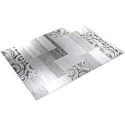 Paco Home Tapis De Créateur Contemporain avec Swirl Et Carreaux Marbré en Gris Crème, Dimension:160x220 cm