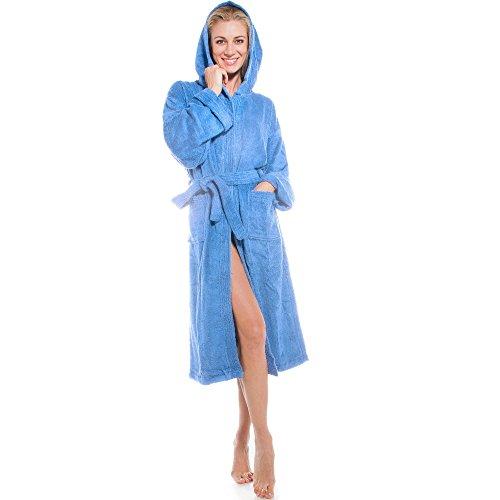 aqua-textil Föhr Bademantel mit Kapuze hell blau XL Baumwolle Morgenmantel Damen Herren Saunamantel Frottee Mantel