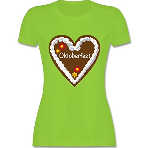 Oktoberfest Damen Lebkuchenherz Oktoberfest tailliertes Premium TShirt mit  Rundhalsausschnitt für Damen Hellgrün