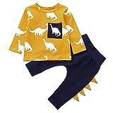 BHYDRY Infantil Bebé Chico Chica Manga Larga Dinosaurio Impresión Tops + Pantalones Conjuntos Ropa (Amarillo,70)