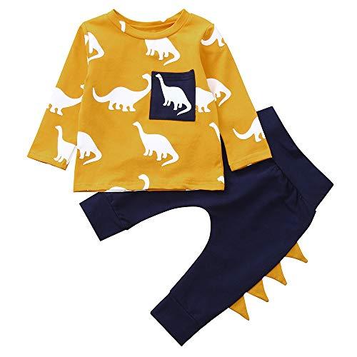 Kinder Jungen Mädchen Winter Pullover Langarm Dinosaurier Druck Pulli T-Shirt Top + Einfarbig Baumwolle Lange Hosen Yanhoo Unisex Baby 2 Stück Bekleidungsset