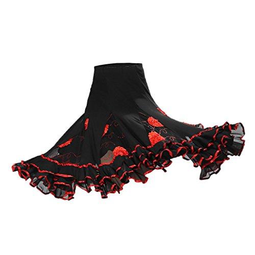 Kostüm Flamenco Damen - Sharplace Damen Maxirock Knielang Tanzrock Boho Hippie Zigeuner Sommerkleid Bauchtanz Rock Tanzen Kostüm Walzer Tango - rot, wie beschrieben