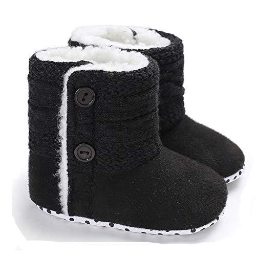 Winter-Baby-Säuglingsjungen-Mädchen Stricken Woolen warme Schnee-Stiefel-Schuhe (12-18 Months, Schwarz)