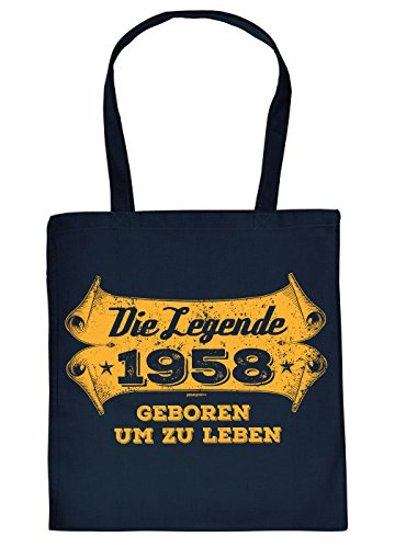 Stofftasche mit Geburtstagsmotiv: Die Legende 1958, geboren um zu Leben - Tasche - Einkaufstasche - Navyblau
