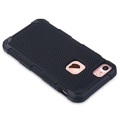 iPhone 7 Hülle, ULAK Apple iPhone 7 Hülle 2in1 Hybrid Hart PC und Weißh Silikon Gel Schutzhülle Tashce Case Cover For Apple iPhone 7 4.7 Zoll (Roségold + Roségold) Schwarz + Schwarz