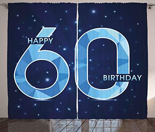 ABAKUHAUS Party Rustikaler Gardine, Geburtstag 60 Sterne, Schlafzimmer Kräuselband Vorhang mit Schlaufen und Haken, 280 x 260 cm, Marineblau und Himmelblau (Geburtstag Versorgt 60)