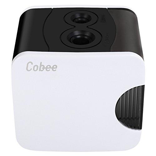 Cobee Sacapuntas Eléctrico, Automático, Funciona a Pilas y Alimentado por USB (Blanco)