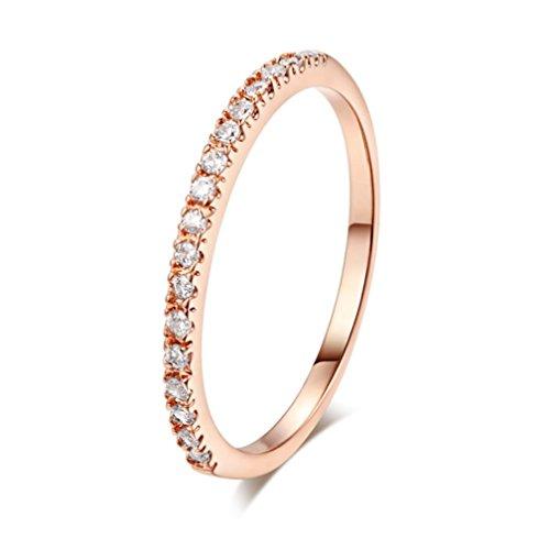 (Damen Mädchen Ehering Verlobungsring Ringe Mingfa 2018Einfache Zirkon Diamant Ringe Schmuck, Legierung, Rose Gold, 6.5#)