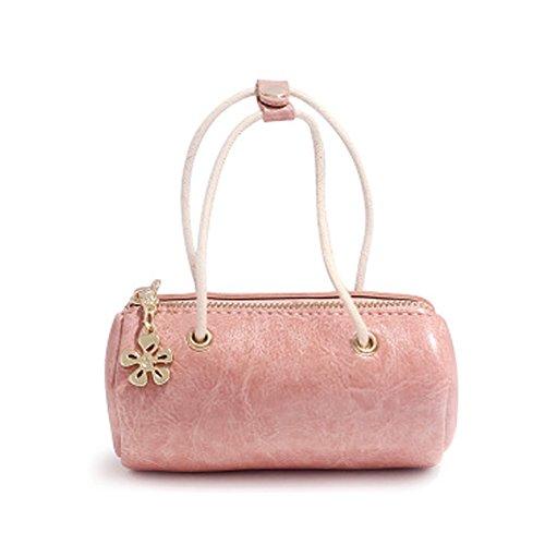 Woolala Girls Mini Borsa Elegante Cera Cuoio Piccolo Portafoglio Zip Cassa Portafoglio Organizzatore Borsetta Breve, Rosa Pink
