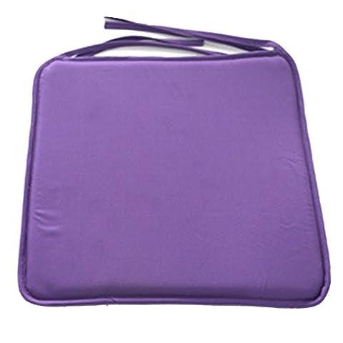 SIMPVALE Lot de 4 galettes de chaises avec attaches - coussins de fauteuil - Colore unie - 40x40x1 cm Violet