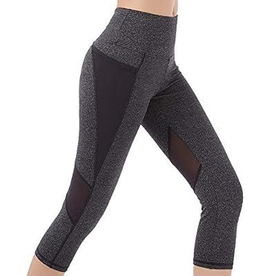 SEYO Gym Leggings Womens 3/4 Yoga Pants Running Leggings Pockets Capri Pants High Waist Workout Cropped Leggings Long Length by SEYO